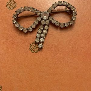 Jewelry - Vintage Large Bow Rhinestone Brooch